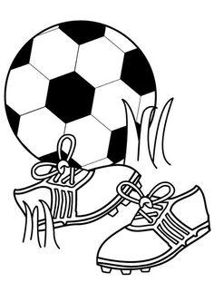 Dessin d'un ballon de foot et d'une paire de chaussures de foot, à colorier avec de belles couleurs