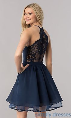 Short Chiffon Homecoming Dress with Lace RacerbackYou can find Semi formal dresses and more on our website.Short Chiffon Homecoming Dress with Lace Racerback Dresses Short, Hoco Dresses, Party Dresses For Women, Dresses For Teens, Dance Dresses, Pretty Dresses, Evening Dresses, Short Winter Formal Dresses, Bridesmaid Dresses