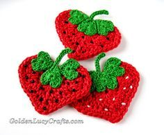 Free Pattern - Crochet Heart Strawberry Appliqué                                                                                                                                                     More