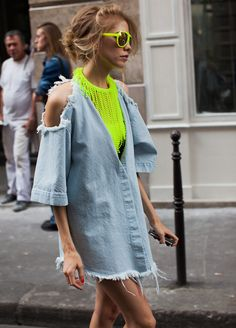 Neon and denim. And it is so.