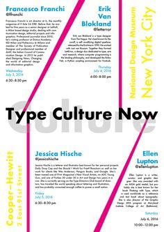 BOZZA 1 GERARCHIA:1–Type Culture Now 2–Chi 3–Dove 4–Quando 5–Descrizioni (Ho utilizzato il font futura, sfruttando le sue linee per creare elementi grafici con la funzione di assi per la disposizione del testo)