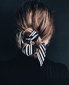Striped hair scarf.