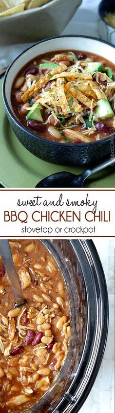 so easy and delicious we had this for Christmas! Sweet and Smoky BBQ Chicken Chili is guaranteed to become a family fav! Easy to make in the crockpot or stovetop. #chili #chickenchili #BBQ #BBQchickenchili #crockpot