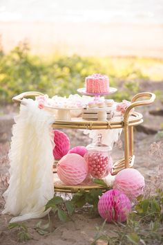 Ballet On The Beach Party - how sweet are these desserts on a bar cart?! Spa Party, Beach Party, Birthday Party Themes, 2nd Birthday, Gold Party, Project Nursery, Slumber Parties, Unicorn Party, Perfect Party