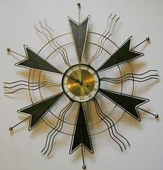 Mid-century Atomic Sunburst Clock