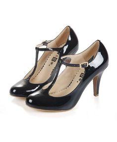 Retro Black T-bar Round Toe Leather Heeled Shoes
