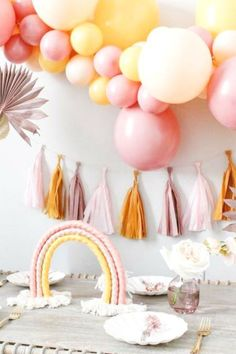 Take a look at this gorgeous boho rainbow birthday party! The party decorations are wonderful! See more party ideas and share yours at CatchMyParty.com  #catchmyparty #partyideas #rainbowparty #bohoparty #girlbirthdayparty