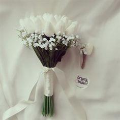 Cipso Beyaz Lale Gelin Buketi Bouquet, Wedding, Vintage, Valentines Day Weddings, Bunch Of Flowers, Bouquets, Weddings, Marriage, Mariage