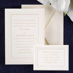 simple, elegant invitation card creates depth with multiple borders including a pearlized border, raised borders and textured dots.