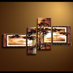 Stunning Contemporary Wall Art High Quality Oil Painting Gallery Stretched Landscape. This 4 panels canvas wall art is hand painted by Anmi.Z, instock - $144. To see more, visit OilPaintingShops.com