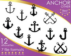 Hey, I found this really awesome Etsy listing at https://www.etsy.com/listing/503610374/12-silhouettes-anchor-anchors-ship-other