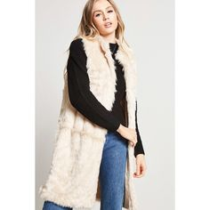 Forever21 Faux Fur Vest ($17) ❤ liked on Polyvore featuring outerwear, vests, beige, sleeveless faux fur vest, beige vest, vest waistcoat, sleeveless vest and faux fur vest