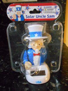 Solar Powered Dancing Uncle Sam - NIP!- FREE GIFT!! Solar Powered Toys, Interactive Toys, Free Gifts, Kids Toys, Barware, Dancing, Confidence, Hobbies, Bottle