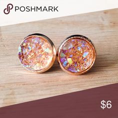 """🍑 Iridescent Peach Faux Druzy Earrings Handmade earrings with iridescent peach faux druzy charms.  We offer 15% off on all bundles. You can """"Add to Bundle"""" to get discount.  Most items listed are ready to ship but if you need something sooner please let us know before ordering.  Thank you for shopping my closet! Country Mermaids Jewelry Earrings"""