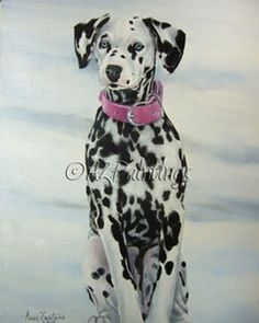 Baby Blue Eyes - Dalmatian Puppy Painting, painting by artist Anne Zoutsos Pet Dogs, Pets, Doggies, Dalmatian Dogs, Horses And Dogs, Online Pet Supplies, Puppy Care, Wildlife Art, Dog Accessories