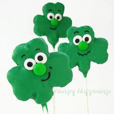 Hungry Happenings: Silly Shamrock Shaped Rice Krispies Treat Pops for St. Patrick's Day