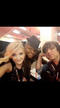 Emily Kinne with Iron E. Singleton and Ryan Adams at the Walking Dead Season 6 FAn Premiere on October 9,2015