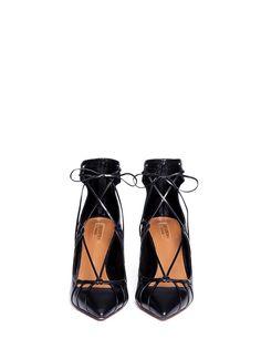 AQUAZZURA - 'Seduce Me' leather lace-up pumps | Black Pump Mid Heels | Womenswear | Lane Crawford