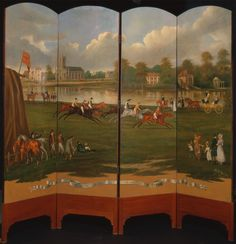 """The four-fold mahogany screen is by Henry Bernard Chalon, titled """"The Clarence Gold Cup at Hampton."""" Take a closer look here: http://collections.britishart.yale.edu/vufind/Record/1668416"""