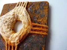 Rusty weaving experiment by craftytrekky Weaving Textiles, Weaving Art, Tapestry Weaving, Hand Weaving, Textile Fiber Art, Textile Artists, Textiles Techniques, Weaving Projects, Assemblage Art