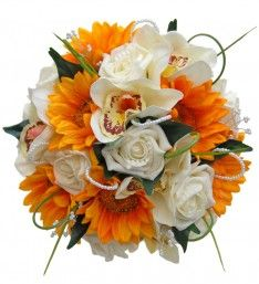 Artificial Bridesmaids Bouquet Yellow Sunflowers, Orchids, Roses