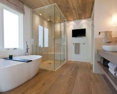 beautiful bathroom with wood laminate flooring