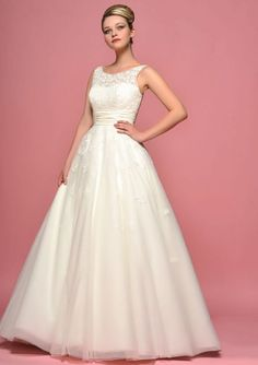 Love love love! 86-daisy Full length bridal dress with vintage inspired applique on bodice and skirt