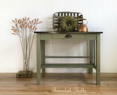 Rustic green desk, coffee bar or entryway table by ShenandoahShabby on Etsy Green Desk, Library Table, Old Libraries, Dark Stains, Home Remodeling, Painted Furniture, Entryway Tables, New Homes, Shabby