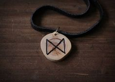 DAGAZ rune necklace  Wooden rune necklace  Juniper pendant