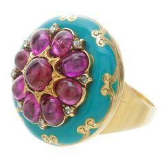 Victorian Ruby, Diamond & Enamel Yellow Gold Poison Ring