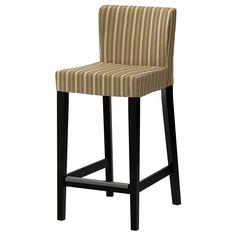 HENRIKSDAL Bar stool with backrest - striped/Linghem light brown, brown-black, 63 cm - IKEA