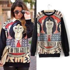 New Women Loose Plus Size Hoodies Cool Animal Fashion Sweatshirt Casual Outwear Tops 80471 $15.99