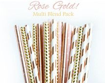 Rose Gold Wedding Decor, Rose Gold Party Decor, Rose Gold Bridal Shower, Engagement Party Decor, Graduation Party Decorations, Paper Straws