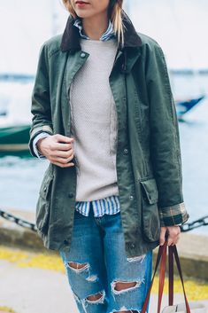 Weekend style in the Barbour Beadnell Jacket Prosecco & Plaid