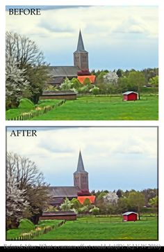 https://flic.kr/p/FTDZYs | Before And After: 29 | What a camera effect could do!  Using to get a bigger contrast between the ground and sky.  The Tutorial Below:  1-Duplicate Layer  |Background Layer (normal 100%) Rename Frame  2-Stroke (Outline) Selection Stroke (>Edit) |Width (100 px) |Color (Black) Location  |Center Blending |Mode (Normal) |Opacity (50%) |preserve Transparency ON (On Frame Layer)  3-Bevel (Effects>Styles>Bevel) |Simple Sharp Pillow Emboss (On Frame Layer  4-Level...
