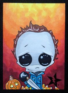 Sugar Fueled Michael Myers Halloween Horror lowbrow creepy cute big eye ACEO mini print on Etsy, $4.00