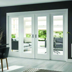 Easi-Slide White Shaker 1 Pane Sliding Door System in Four Size Widths with Clear Glass - Lifestyle Image - June 22 2019 at Sliding French Doors, French Doors Patio, Sliding Patio Doors, French Doors With Sidelights, Double Sliding Glass Doors, Double French Doors, French Windows, Entry Doors, Interior Closet Doors