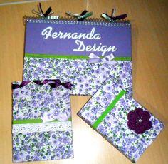 Caderno,bloquinho e porta cartão - estampa lilás