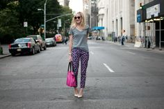 Madison Square Park, NYC: Printed Denim, Comfy T's, and Monogrammed Bags - Kelly in the City