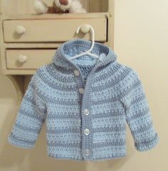 Blue Baby Hoodie, Crochet Baby Hoodie, Infant Jacket, Baby Boy Coat, Blue Stripe Hoodie, New Baby Gift, Handmade, Ready to Ship!