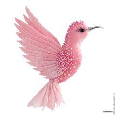 Купить Брошь-колибри «Фуксия». Шёлковая брошь-птичка. - брошь птица, украшение для прически