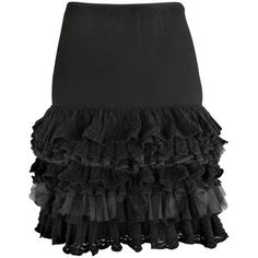 Preowned Ralph Lauren Collection Size M Black Drop Waist Wool & Tulle... (€340) ❤ liked on Polyvore featuring skirts, black, ruffled skirts, ruffle pencil skirt, ruffle tulle skirt, wool pencil skirt, pencil skirts and layered ruffle skirt