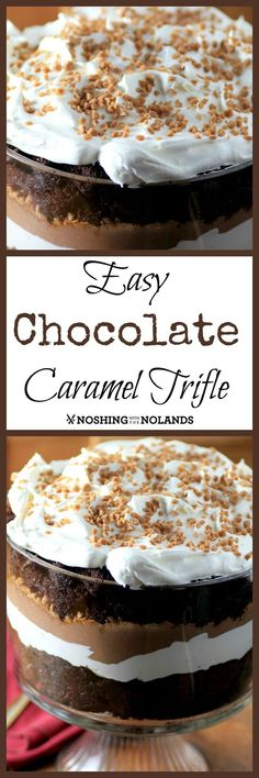 Easy Chocolate Caramel Trifle by Noshing With The Nolands, will have you loving the holidays!! (Homemade Chocolate Caramels)
