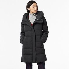 WOMEN STRETCH WOOL BLENDED DOWN COAT