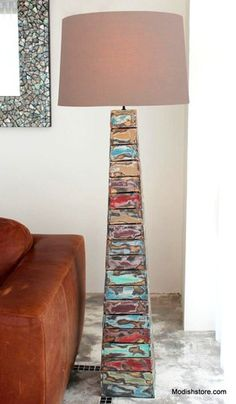 """Recycled and repurposed, the """"Tall Buoy"""" Floor Lamp is made out of salvaged wood, for the enviornmentally conscious. The gentle hints of color along with the naturally exposed wo Indoor Floor Lamps, Lamp, Tall Floor Lamps, Floor Lamp, Rustic Lamps, Floor Lamp Bedroom, Driftwood Lamp, Floor Lamps Living Room, Hanging Ceiling Lights"""