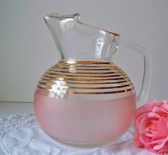 Vintage Glass Pitcher 1950s by cynthiasattic on Etsy, $49.00