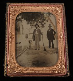 1/4 plate ambrotype * Outdoor Scene Hunter with Large Dog and Tophat Gentleman