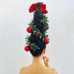 Find the perfect hairstyle to celebrate the Christmas holiday season in style. Browse through the top 100 DIY Christmas hairstyles across the net. Christmas Tree Hair, Ugly Christmas Sweater, Christmas Holidays, Christmas Stuff, Merry Christmas, Chic Hairstyles, Christmas Hairstyles, Headband Hairstyles, Christmas Fashion