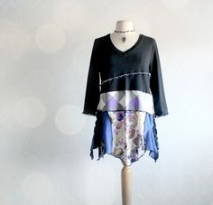 Black Upcycled Shirt Blue Women's Eco Top Purple Floral Bohemian Tunic Recycled Clothing XL