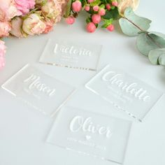 Engraved Acrylic Clear Rectangle Wedding Placecards  Engraved Clear Acrylic Placecards  https://personalisedfavours.com.au/wedding-favours-bomboniere/placecard-favours/engraved-acrylic-clear-wedding-rectangle-placecards